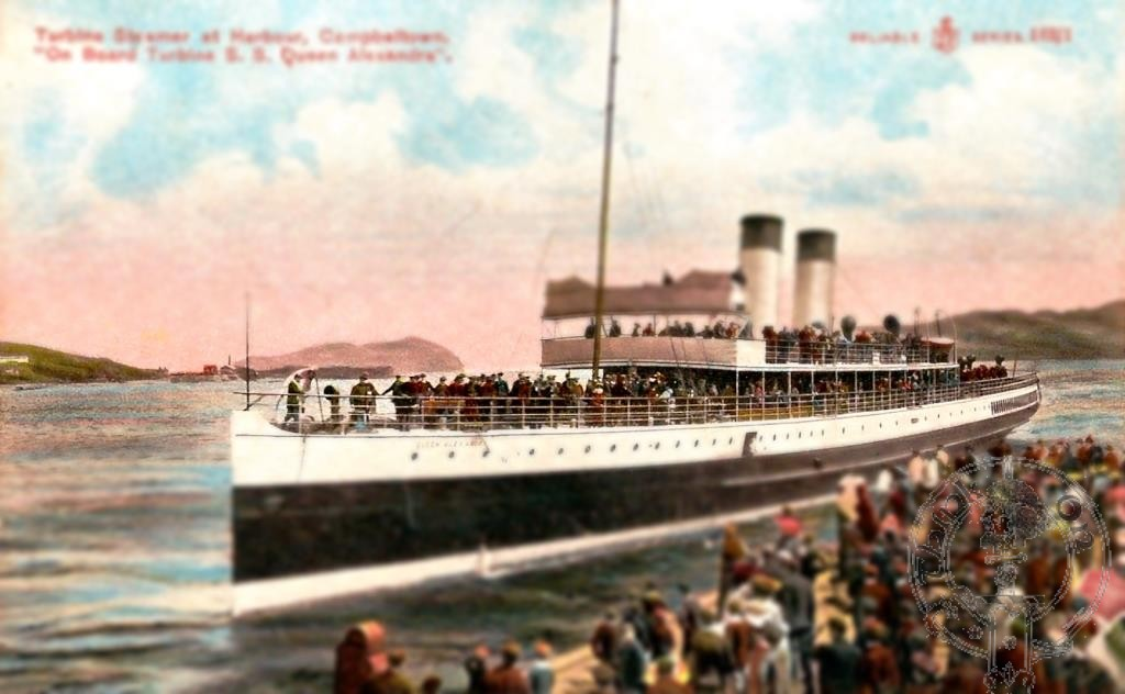 Onboard Turbine Steamer Queen Alexandria at Campbeltown 1908