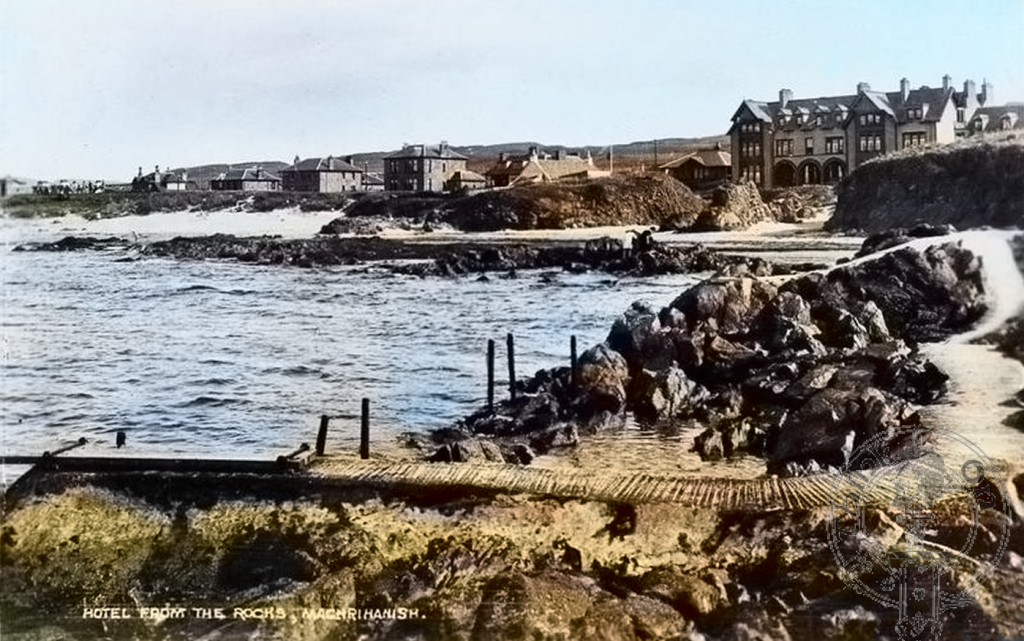 The Ugadale Arms Hotel from the rocks, Machrihanish
